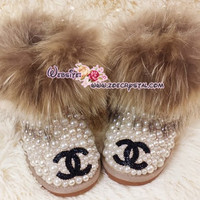 PROMOTION: WINTER Cute and Bling KIDS Winter Fur UGG Inspired Wool Boots w Creamy white Pearls and Black Chane - ZoeCrystal