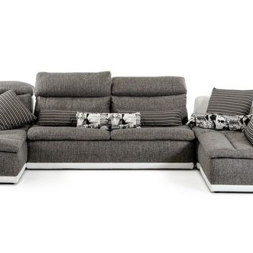 Lusso Panorama Italian Modern Grey Fabric and White Leather Sectional Sofa
