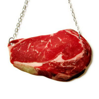 Steak Necklace Sweet Meats BBQ Food Jewelry Raw Meat Lady Gaga Mark Ryden Gag Gift Red Halloween Costume