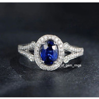Oval Sapphire Engagement Ring Pave VVS Diamond Wedding 14K White Gold