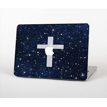 The Vector White Cross v2 over Bright Starry Sky Skin Set for the Apple MacBook Air 11""