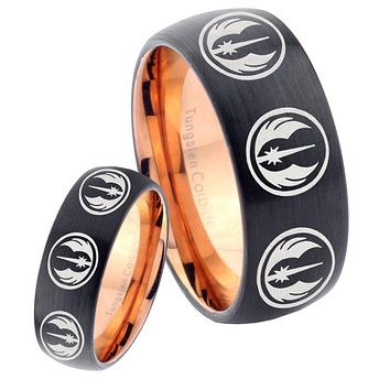 His Hers Multi Jedi Star Wars Dome Tungsten Rose Gold Mens Wedding Band Set