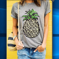 Pineapple Print Soft Flared Longline Tee Tank Top