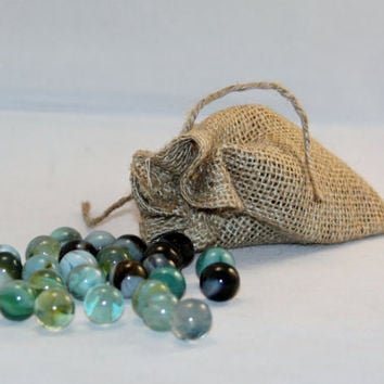 Vintage Marbles Agate Glass Set Of 25 5/8 inch Unsearched With A Burlap Bag For Storage Throwback Toys