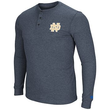 Notre Dame Fighting Irish Men's Long Sleeve Blended Thermal 3 Button Shirt