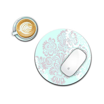 Custom Mousepad, Computer Mouse Pad, Damask Mouse Pad, Round Mouse Pad, Administrative Professional Day Gifts, Administrative Assistant Gift