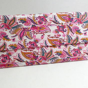 Pink Paisley Duct Tape Clutch Women's Wallet Purse