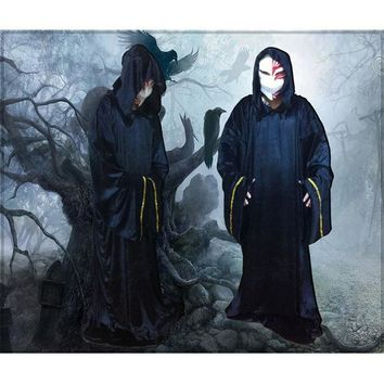 Adult Black Velvet Robes Costumes With Hood For Women Men Halloween Fancy Dress Party Long Gown Cosplay  Devil Witch Sorcer