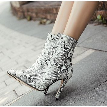 Personality Fashion Snake Print Stiletto Heels Shoes Women Pointed-toe Short Boots