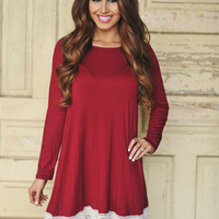 Crochet Hem Dress- Wine