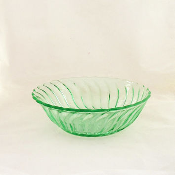 Vintage Green Swirl Glass Bowl, Depression Green Glass Bowl, UK Seller