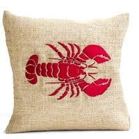 Red Lobster Embroidered Pillow Cover in Natural Burlap - Sea Pillow Cover Nautical Accent for Beach Decor - Handcrafted Embroidered Pillow Cover