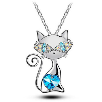 Crystal Cat Gemstone Necklace