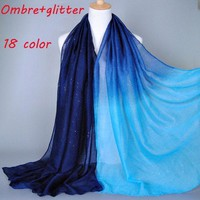 ESBU3C 2015 Ombre glitter printe shade color cotton viscose shimmer long shawls head pashmina spring cotton hijab muslim scarves/scarf