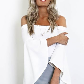 To The Top Ivory Off The Shoulder Bell Sleeve Bodysuit