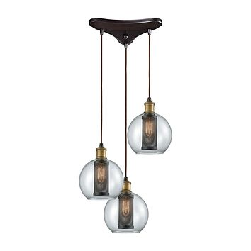 14530/3 Bremington 3 Light Triangle Pan Pendant In Tarnished Brass/Oil Rubbed Bronze With Clear Glass And Perforated Metal Cage