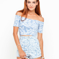 Motel Dana Crop and Mizzy Shorts Pack in Blue Paisley