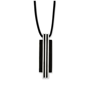 Two Tone Stainless Steel Vertical Bar & Rubber Cord Necklace, 20 Inch