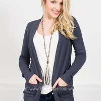 New York Ribbed Cardigan | Grey