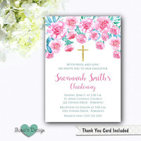 Christening Floral Invitation - Gold Baptism Invitation - Pink Floral Baptism Invitation - Rose Baptism Invitation - Watercoluor Invite