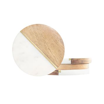 Marble and Wood Coasters - Set of 4