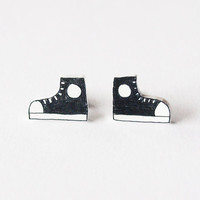 Black High Top Shoe Stud Earrings - Made To Order
