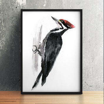Nursery art Cute bird watercolor Spotted woodpecker print ACW115