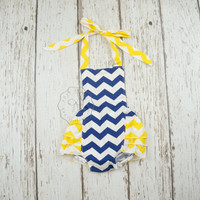 chevron baby romper- chevron girls clothes- bubble romper- navy blue chevron romper- chevron romper- toddler romper- chevron girls outfit
