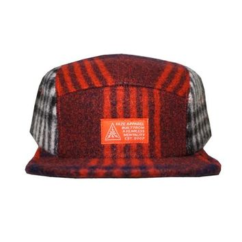 Let's Build 5-Panel Strapback Hat in plaid red and plaid white