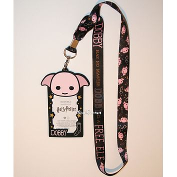 Licensed cool Harry Potter Dobby is a  Elf Dobby Has No Master Lanyard W/Rubber ID Holder