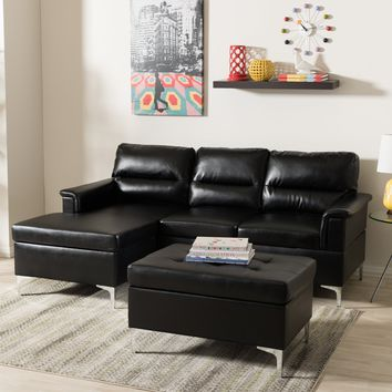 Baxton Studio Kinsley Modern and Contemporary Black Faux Leather Upholstered 3-Piece Sectional Sofa and Ottoman Small Set Set of 1