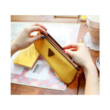 Skinny pencil case high quality long pencil pouch - Mustard