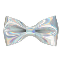 Silver Vinyl Iridescent Hair Bow