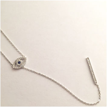 Sterling Silver Fancy Eye Necklace