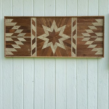 Reclaimed Wood Wall Art-Lath Art-Twin Headboard-Wood Wall Decor-Bedroom Decor-Geometric Design-Star-Diamond Pattern-Natural.