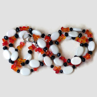 Colorful double wrap necklace Orange white black Extra long chunky Double strand layered necklace Flapper jewelry Semiprecious natural onyx