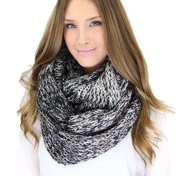 CHUNKY METALLIC BLACK double width infinity scarf, black and gray knit scarf