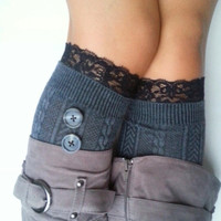 Gray Long Socks with Black Lace Trim and cute gray buttons