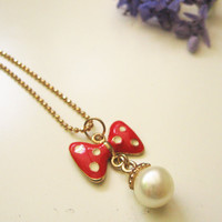 Dot bow necklace - miniature bow pendant - dainty delicate jewelry