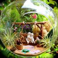 "Bunny Terrarium Kit ~ 8"" Air Plant Terrarium Kit ~ Bunnies on a Swing ~ Turtle + Butterfly ~Sand and Butterfly Color Choice ~ Gift"