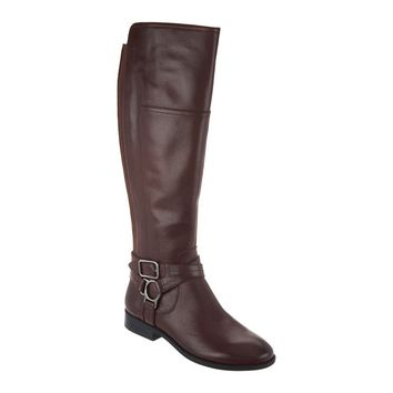 Marc Fisher Aliza Wide Calf Wine Leather Over the Knee Boots
