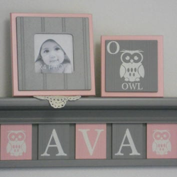 "Owl Nursery Decor Wall Art, Personalized Name Shelves, Blocks Customized for AVA with Owls, 5 Light Pink and Gray Tiles on 24"" Grey shelf"