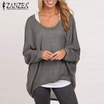ZANZEA 9 Color Hot Sale Women Blouse 2016 Spring Autumn O-neck Batwing Sleeve Tops Casual Solid Loose Shirts Plus Size Blusas