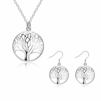 Kiteal Silver Fashion jewelry sets Tree Of Life bridal set gift for women Mesh Necklaces pendant drop earring 925 stamp