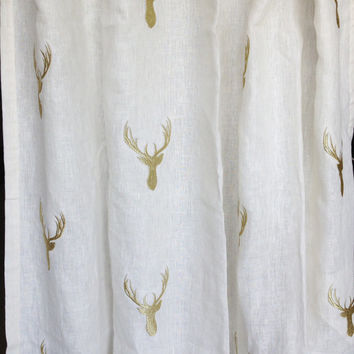 "Tab Top Curtain Panels Ivory Linen Golden Deer Embroidery 52""x84"" -Linen Drapes Cotton Lining -Bedroom Decor -Window Treatment -Wedding Gift"