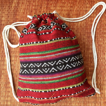 Drawstring Tribal Backpack Boho Ethnic Festival bag fashion Rucksack Folk Woven Hippie Styles Gypsy Nepali fabric Tote Bohemian gift men Red
