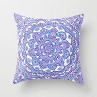 Lilac Spring Mandala - floral doodle pattern in purple & white Throw Pillow by Micklyn