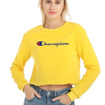 Champion New fashion bust embroidery letter women long sleeve short top sweater Yellow