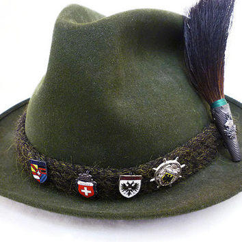 German Austrian, Fedora Hat, Alpine Bavarian, Mountain Climbing, Gamsbart Trachten, Stag Deer, Boar Brush Pin, Green Wool, Vintage Mens Hat
