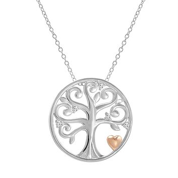 Created White Sapphire Tree of Life Pendant-Necklace with Rose Gold Plated Heart in Sterling Silver